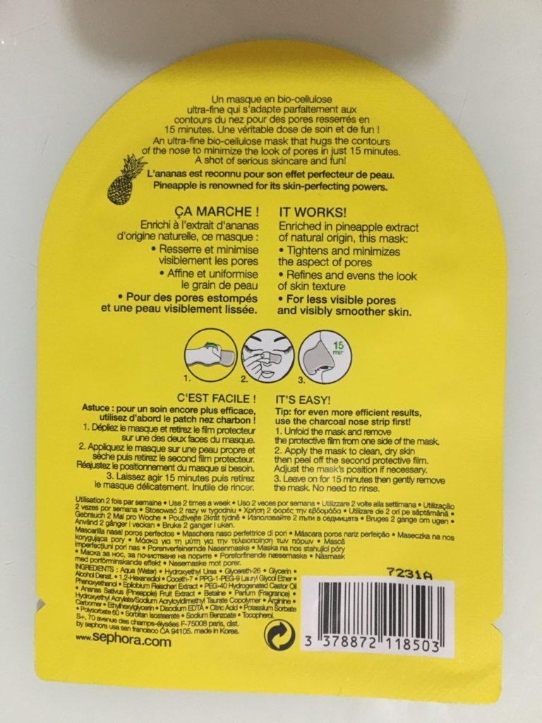 Sephora masca cu ananas pentru nas ingrediente si metoda de utilizare